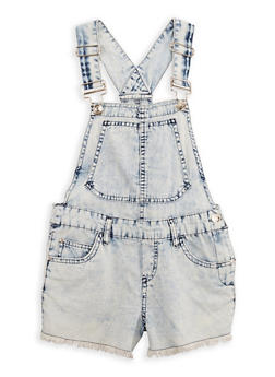 Girls 7-16 Frayed Hem Denim Shortalls - 1621038340051