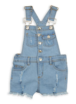 Girls 7-16 Frayed Denim Shortalls - 1621038340052