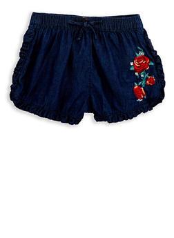 Girls 7-16 Ruffle Trim Embroidered Denim Shorts - 1621038340063