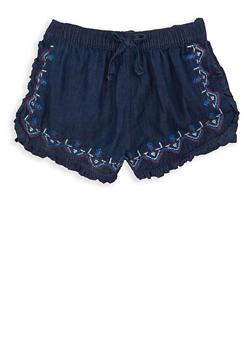 Girls 7-16 Embroidered Denim Shorts - 1621038340073