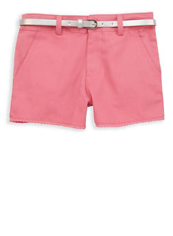 Girls 7-16 Crochet Trim Twill Shorts - 1621038340075