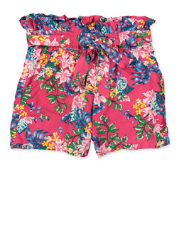 Girls 7-16 Floral Paper Bag Shorts - 1621038340085