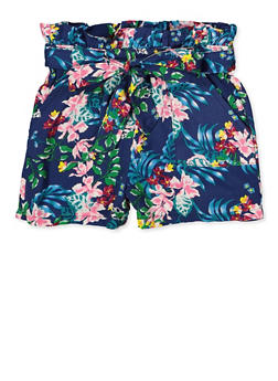 Girls 7-16 Leaf Print Shorts - 1621038340086