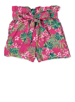 Girls Pink Print Shorts