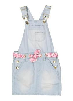 Girls 7-16 Threaded Tie Waist Overall Dress - 1621038340091