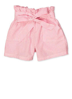 Girls 7-16 Striped Paper Bag Waist Shorts - 1621038340092