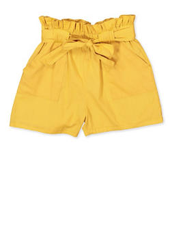 Girls 7-16 Cotton Paperbag Waist Shorts - 1621038340094