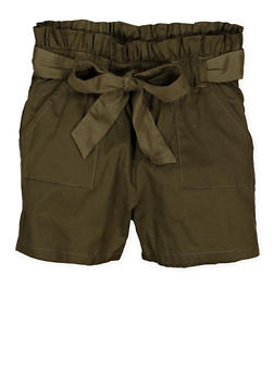 Girls 7-16 Paper Bag Waist Shorts | 1621038340095 - 1621038340095
