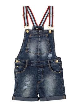 Girls 7-16 Striped Suspender Shortalls - 1621038340098