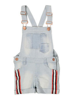 Girls 7-16 Striped Tape Trim Denim Shortalls - 1621038340099
