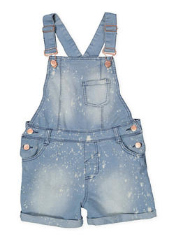 Girls 7-16 Paint Splatter Denim Shortalls - 1621038340100