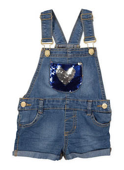 Girls 5-16 Reversible Sequin Heart Denim Shortalls - 1621038340101