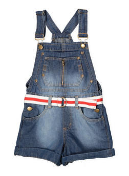 Girls 7-16 Belted Denim Shortalls - 1621038340104