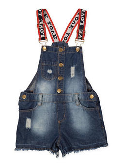 Girls 7-16 Love Strap Denim Shortalls - 1621038340105