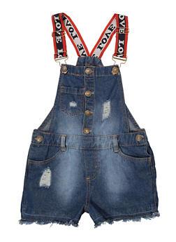 Girls 7-16 Love Strap Frayed Denim Shortalls - 1621038340113