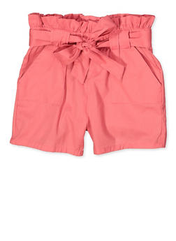Girls 7-16 Paper Bag Waist Shorts | 1621038340116 - 1621038340116