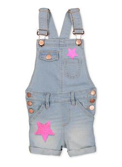 Girls 7-16 Star Reversible Sequin Denim Shortalls - 1621038340160