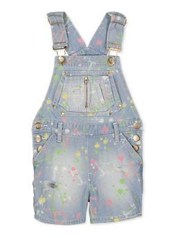 Girls 7-16 Paint Splatter Denim Shortalls - 1621038340163