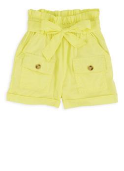 Girls Tie Paper Bag Waist Shorts - 1621038340202
