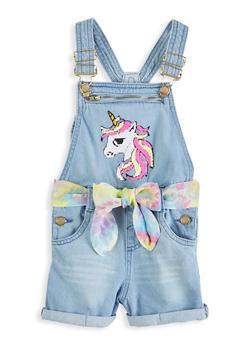 Girls Reversible Sequin Unicorn Denim Shortalls - 1621038340306