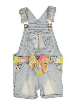 Girls Floral Belted Denim Shortalls - 1621038340312