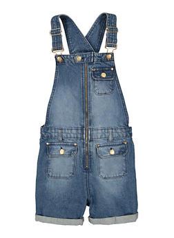 Girls Denim Zip Front Shortalls - 1621038340316