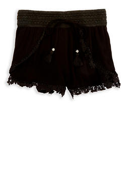 Girls 7-16 Crochet Trim Gauze Knit Shorts - 1621051060024