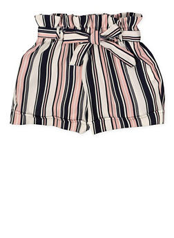 Girls 7-16 Paper Bag Tie Waist Shorts - 1621051060030
