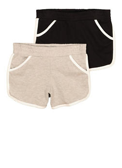 Girls 2 Pack French Terry Contrast Trim Shorts - 1621054730091