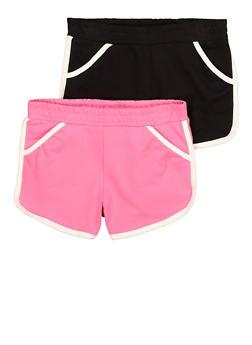 Girls 2 Pack Contrast Trim Shorts - 1621054730092