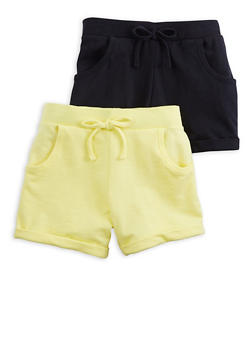 Girls 2 Pack Yellow and Black Shorts - 1621054730097
