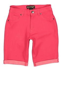 Girls 7-16 Knit Denim Bermuda Shorts | Fuchsia - 1621056570045