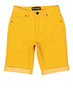 Girls 7-16 Knit Denim Bermuda Shorts | Mustard - 1621056570046
