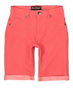 Girls 7-16 Knit Denim Bermuda Shorts | Coral - 1621056570048