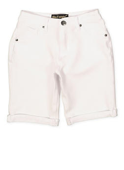 Girls 7-16 Cuffed Denim Knit Bermuda Shorts | 1621056570049 - 1621056570049
