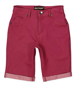 Girls 7-16 Stretch Bermuda Shorts | Wine - 1621056570052