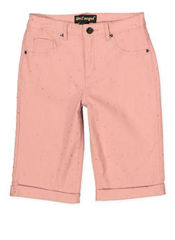 Girls 7-16 Studded Hyperstretch Bermuda Shorts | Mauve - 1621056570054