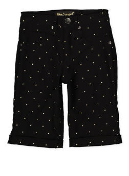 Girls 7-16 Studded Hyperstretch Bermuda Shorts | Black - 1621056570055