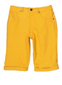Girls 7-16 Studded Hyperstretch Bermuda Shorts | Mustard - 1621056570056
