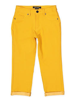 Girls 7-16 Fixed Cuff Stretch Pants | Mustard - 1621056570060