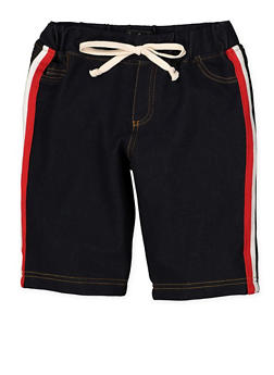 Girls 7-16 Striped Tape Denim Knit Bermuda Shorts | 1621056570061 - 1621056570061