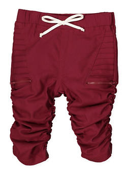 Girls 7-16 Ruched Hyperstretch Capri Jeggings | Wine - 1621056570065