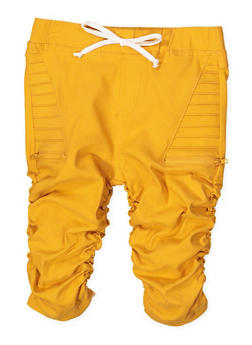 Girls 7-16 Ruched Hyperstretch Capri Jeggings | Mustard - 1621056570066