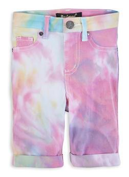 Girls Tie Dye Pattern Hyperstretch Bermuda Shorts - 1621056570108