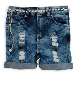 Girls 7-16 Acid Wash Denim Shorts with Belt - 1621056720010