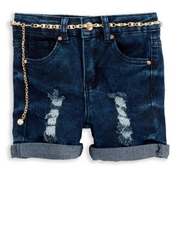 Girls 7-16 Distressed Faux Pearl Belted Denim Shorts - 1621056720015
