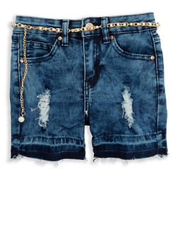 Girls 7-16 Distressed Raw Hem Shorts with Faux Pearl Belt - 1621056720017