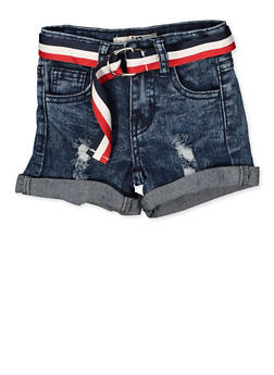 Girls 7-16 Striped Belt Frayed Denim Shorts - 1621056720024