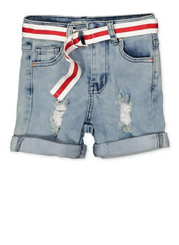 Girls 7-16 Distressed Denim Bermuda Shorts - 1621056720027