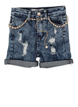 Girls 7-16 Faux Pearl Belted Jean Shorts | 1621056720030 - 1621056720030